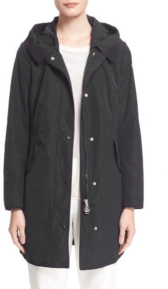 ... Black Coats Moncler Argeline Long Hooded Raincoat ...