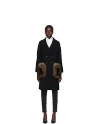 Fendi Black Ff Fur Pockets Coat
