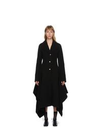 JW Anderson Black Wool Handkerchief Sb Coat