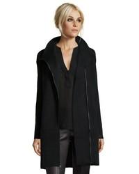 Vince Black Wool Knit Asymmetrical Zip Scuba Coat