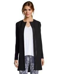 Vince Black Woven Leather Contrast 34 Length Coat