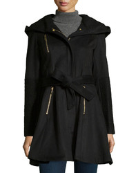 Laundry by Shelli Segal Boiled Wool Zip Front Belted Coat Black