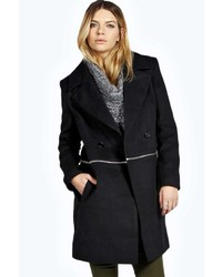 Boohoo Robin Zip Off Wool Look Coat