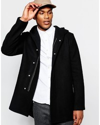 Asos Brand Hooded Wool Rich Coat In Black