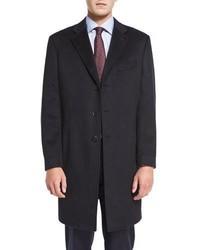 Neiman Marcus Cashmere Three Button Long Coat Black