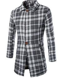 jeansian Classical Plaid Long Jacket Coat Outwear 9378