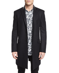 Versace Collection Wool Button Down Top Coat Black