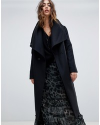 Religion Double Breasted Coat With Drapey Collar Detail