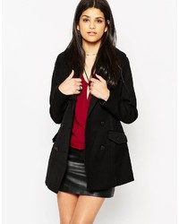 Only Double Breasted Coat With Ribbed Neck