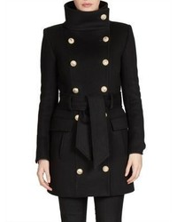 Balmain Double Breasted Wool Cashmere Coat