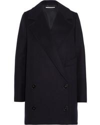 Stella McCartney Edith Double Breasted Wool Blend Felt Coat Midnight Blue