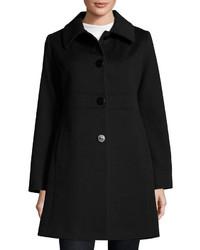 Fleurette Empire Waist Wool Blend Coat Black
