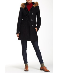 Tommy Hilfiger Faux Fur Wool Blend Coat
