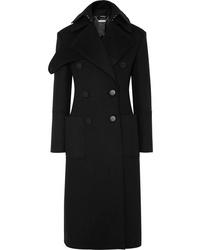Alexander McQueen Layered Double Breasted Wool Felt Coat