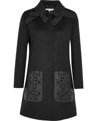 Fendi Leather Paneled Wool Felt Coat Black