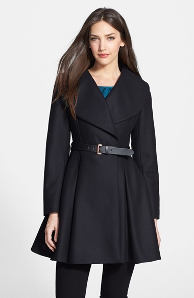0fa43d5b26536 ... Black Coats Ted Baker London Belted Flare Skirt Wool Cashmere Blend Coat  ...