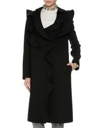 MSGM Long Ruffled Coat Black