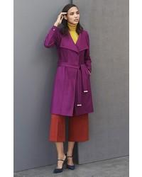 21140d477 ... Ted Baker London Lorili Funnel Neck Wool Blend Wrap Coat Size 2 Black