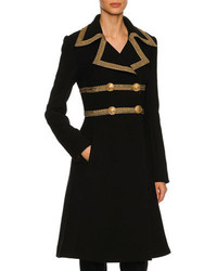 Dolce & Gabbana Metallic Trim Wool Crepe Coat Black