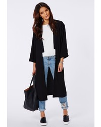 Missguided Anais Crepe Duster Coat Black