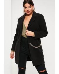 Missguided Plus Size Black Faux Wool Chain Detail Coat