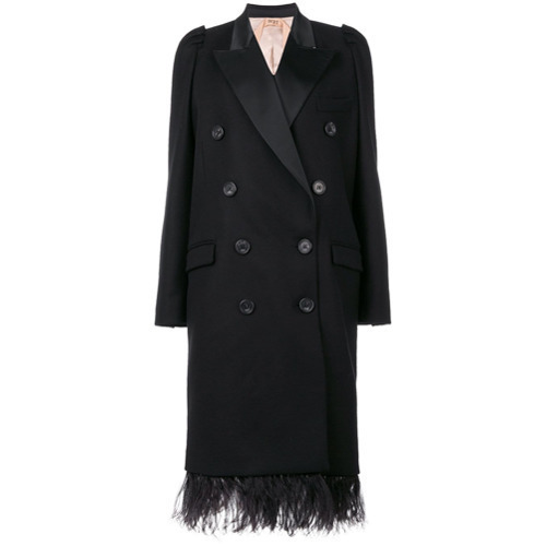 N°21 N21 Double Breasted Coat With Feathered Hem
