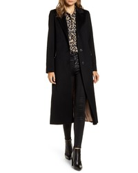 Fleurette Notch Collar Wool Maxi Coat