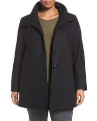 Larry Levine Plus Size A Line Wool Blend Coat