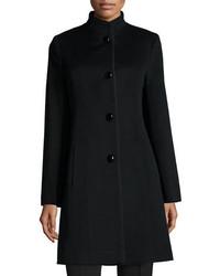 Fleurette Stand Collar Wool Blend Coat W Piping