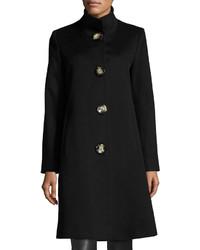 Fleurette Stand Collar Wool Blend Long Coat Black
