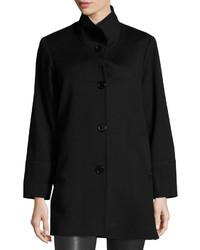 Fleurette Stand Collar Wool Coat Black