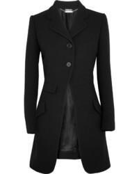 Alexander McQueen Wool Blend Crepe Coat Black