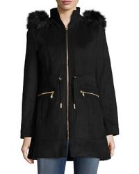 Laundry by Shelli Segal Wool Blend Long Sleeve Faux Fur Trim Coat Black