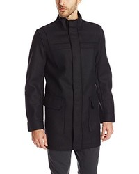 Calvin Klein Wool Laser Cut Solid Coat With Mesh Interior