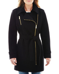 Worthington Worthington Asymmetrical Zip Front Wool Blend Coat