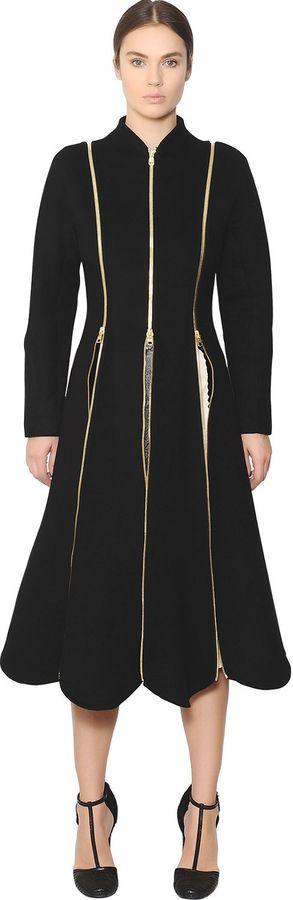 Salvatore Ferragamo Zippered Double Wool Cashmere Coat