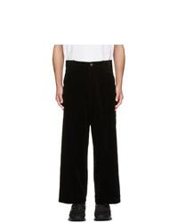Kuro Black Corduroy Wide Trousers