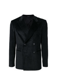 Black Corduroy Double Breasted Blazer