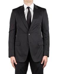 Prada Cotton Peak Lapel Two Button Suit Black