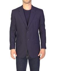 Prada Cotton Three Button Suit Jacket Sportscoat Black Pinstriped Blue