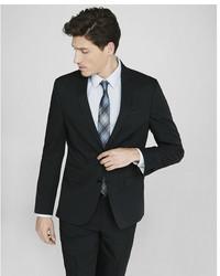 Express Slim Black Cotton Sateen Suit Jacket