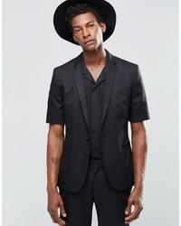 Religion Slim Blazer In Black With Short Sleeve
