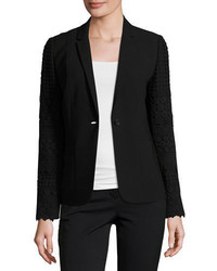 Elie Tahari Tova Crochet Sleeve One Button Blazer