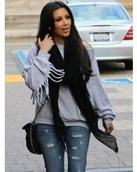 Paula Bianco Japanese Cotton Scarf In Black As Seen On Kim Kardashian