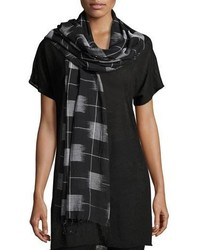 Organic cotton gridded ikat scarf black medium 3680206