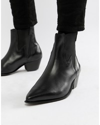 ASOS DESIGN Cuban Heel Western Boots In Black Leather With Lightening Detail
