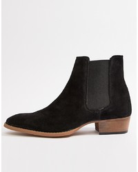 767a740f0412 ... Faux Suede  39 · ASOS DESIGN Cuban Heel Western Chelsea Boots In Black  Suede
