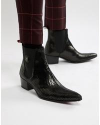 Jeffery West Sylvian Cuban Boots In Black Snake Print