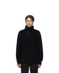 Helmut Lang Black Henley Roll Neck Sweater