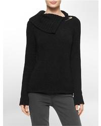 Calvin Klein Hardware Logo Pin Cowl Neck Sweater